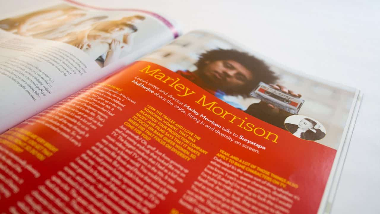 Iris magazine close up photograph of Marley Morrison page